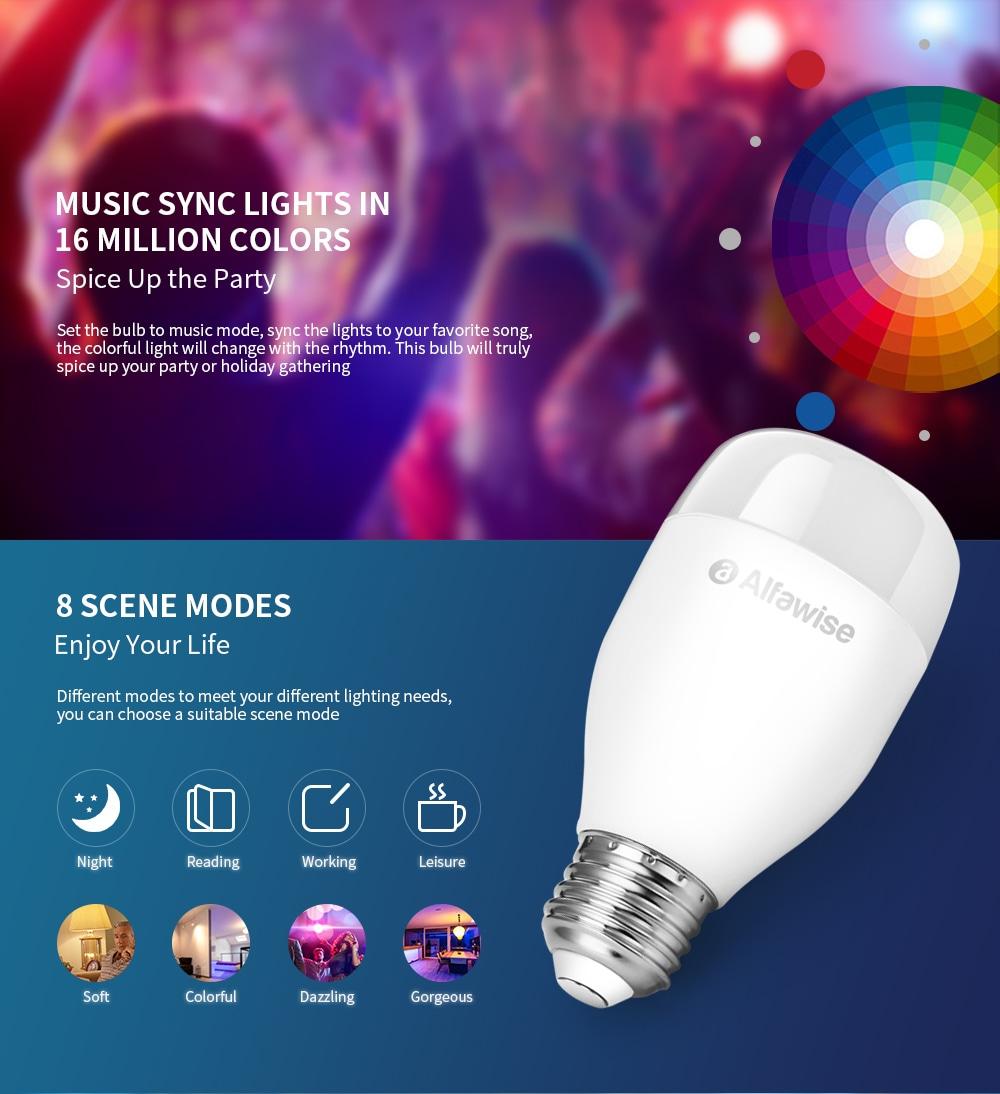 Alfawise LE12, la lampadina wifi smart E27 colorata che sfida le omologhe Yeelight a soli 9 €