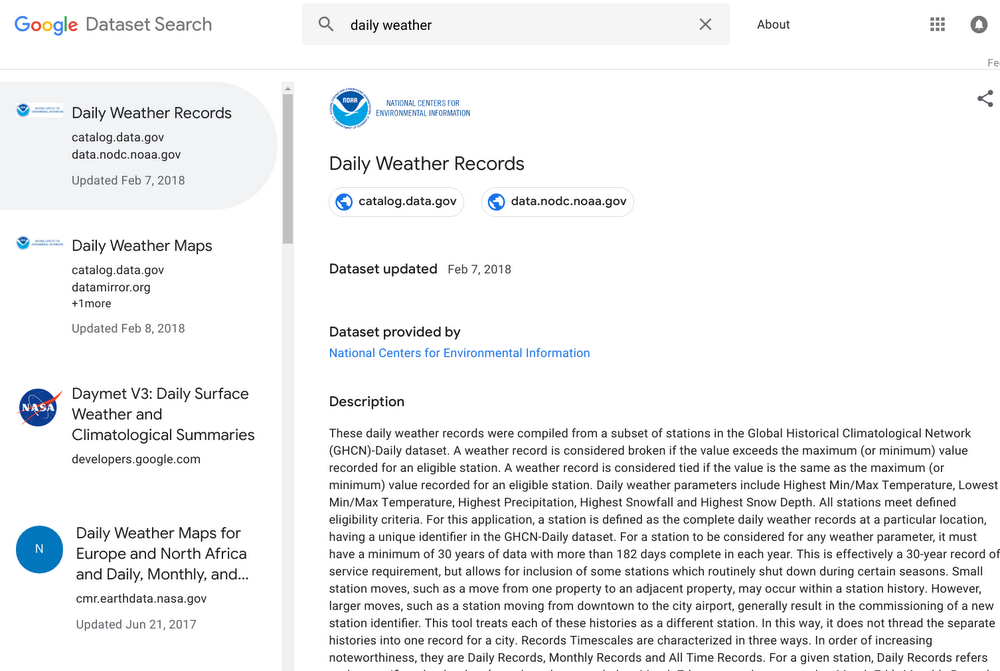 Google Dataset Search non è più un servizio in beta