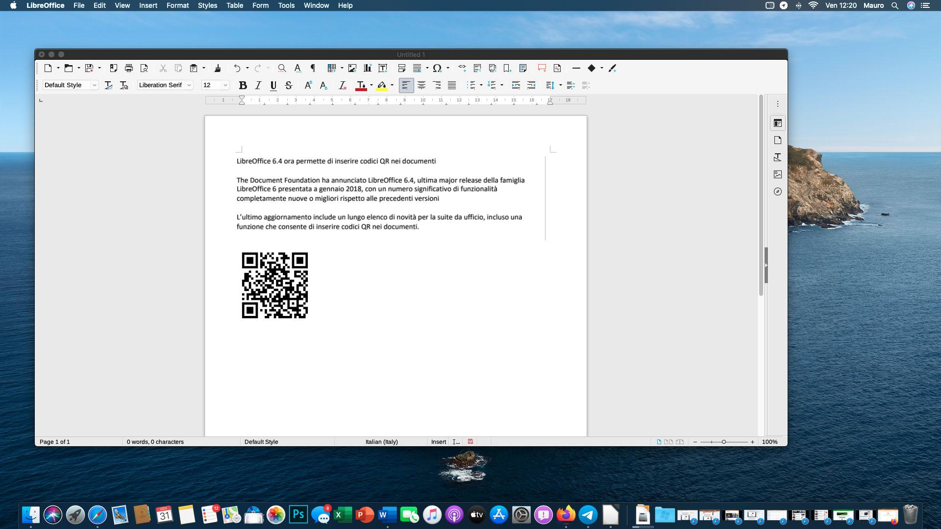 LibreOffice 6.4 ora permette di inserire codici QR nei documenti