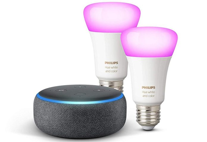 Due lampadine LED Hue White & Color Ambiance  + Echo Dot a 74,99 € (invece che 159,94 €)  In questo caso parliamo di due lampadine a luce bianca e colorata. Stesso funzionamento di quelle che richiamo sopra: Echo Dot le gestisce con la voce e senza Hub. Facile regolazione, luce calda o fredda, luce per il relax o la concentrazione, 16 milioni di colori, luce per giochi. Le sole lampade costerebbero 100 euro.Come accenniamo poco sopra, non è necessario avere un Hub per queste gestire queste lampadine. La loro configurazione avviene in maniera molto semplice. Click qui per comprare
