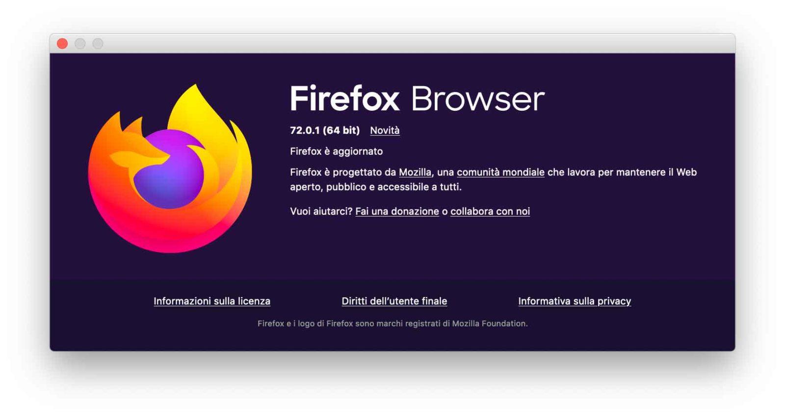 La versione 72.01 di Firefox risolve una gravissima vulnerabilità