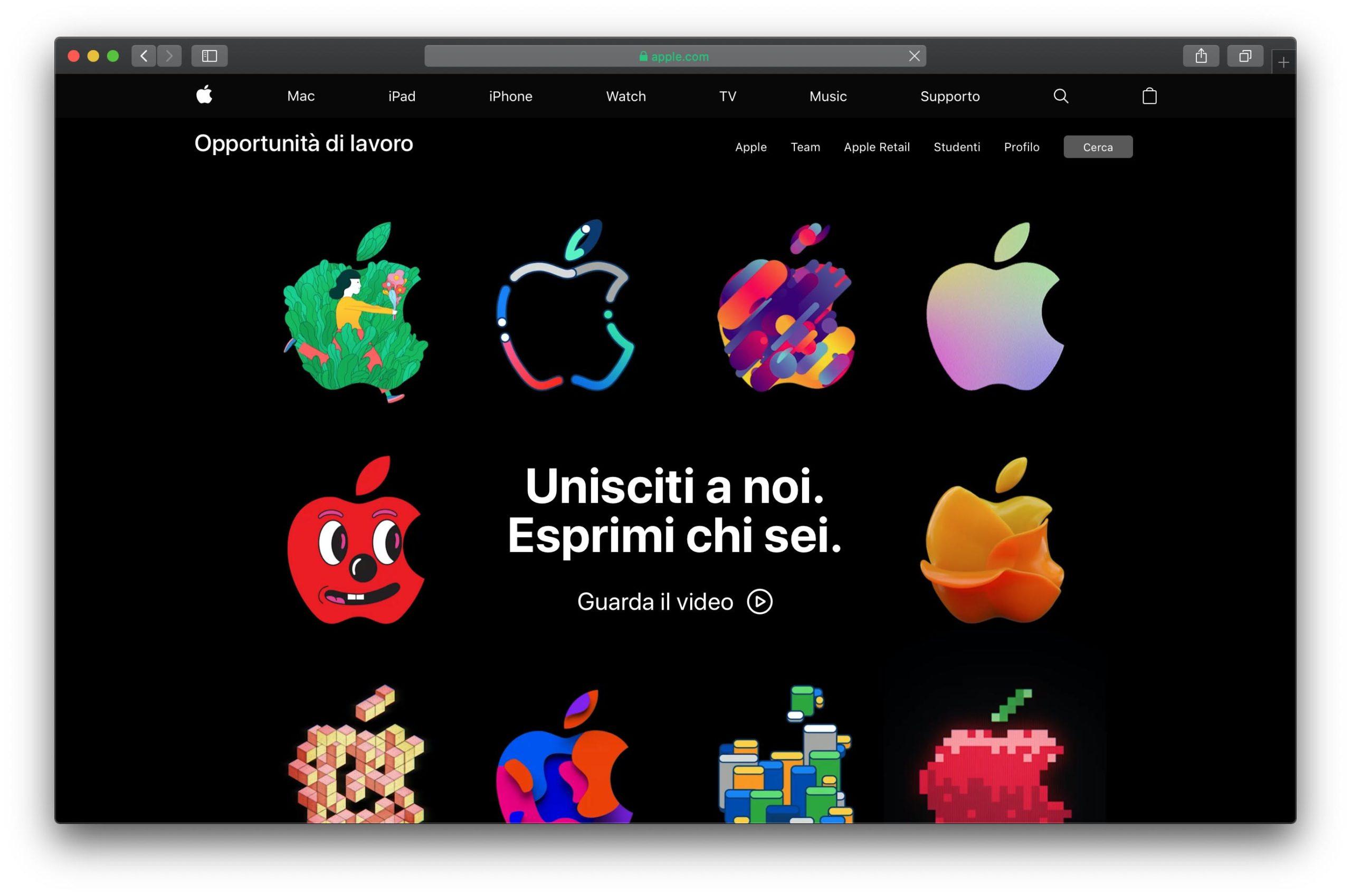 Apple ha rinnovato la sezione delle offerte di lavoro sul sito