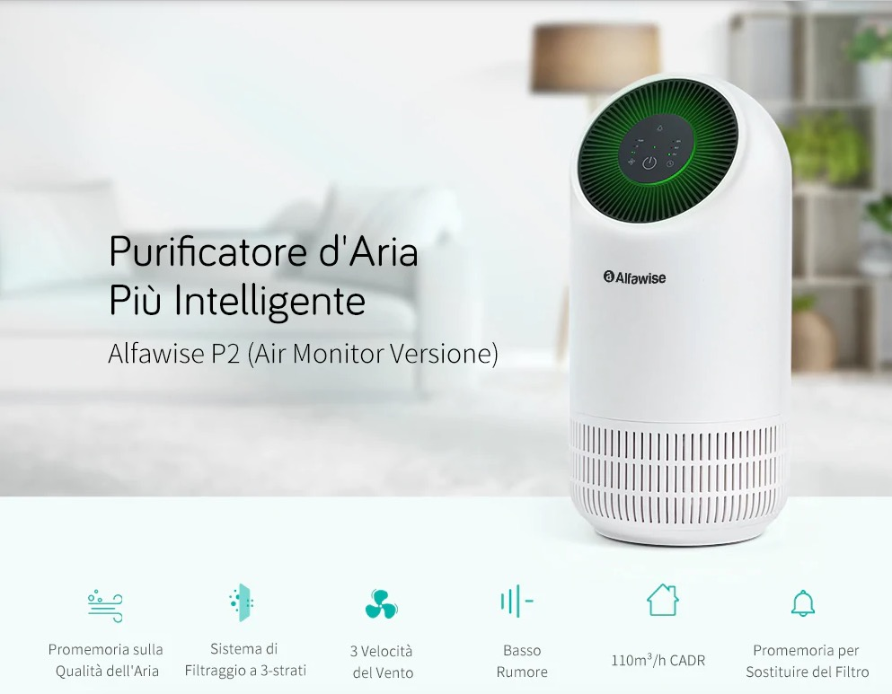 Alfawise P2 è in offerta lampo: bastano 57,79 euro per aria fresca e pulita in casa