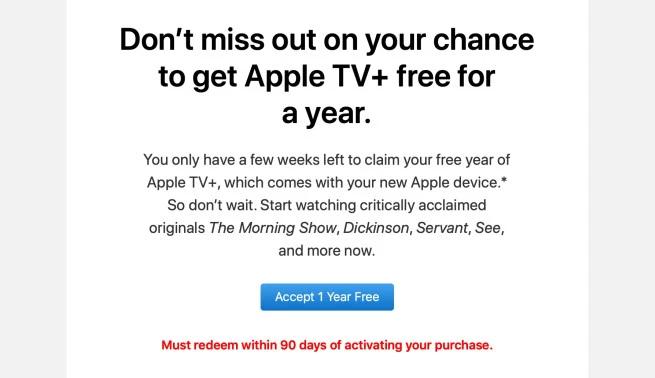 Apple vi ricorda di attivare l'anno gratis di Apple TV+ prima della scadenza