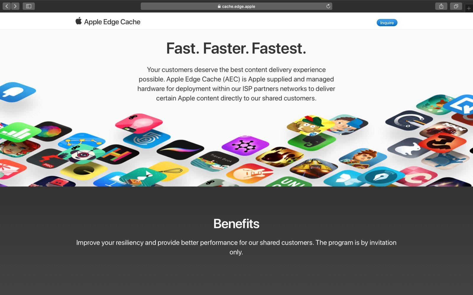 Apple Edge Cache, la Mela vuole aumentare la velocità di download dei contenuti
