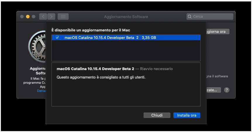 Seconda beta di macOS 10.15.4 agli sviluppatori