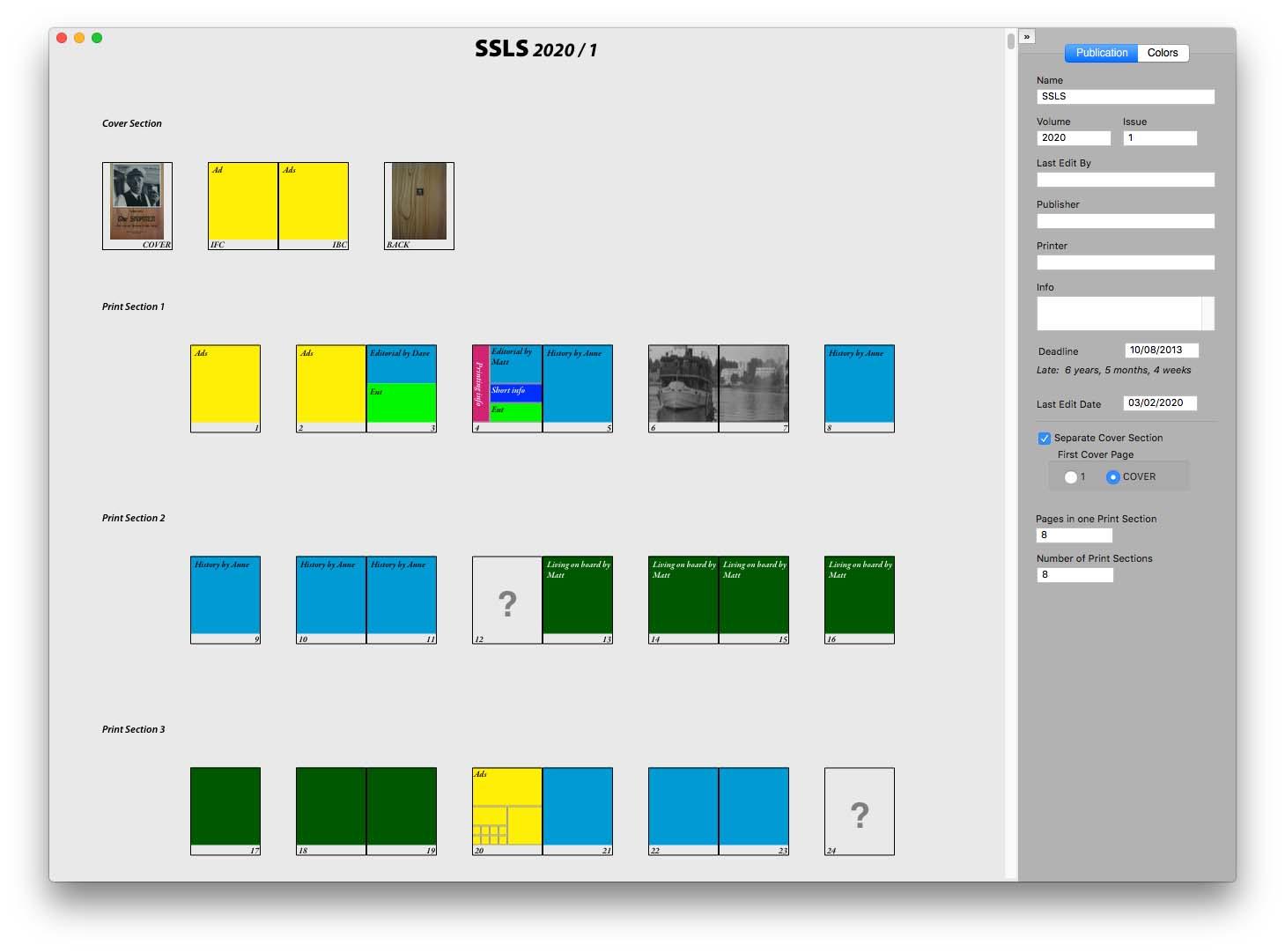 MacFlatplan è un software Mac per preparare i menabò di riviste da mandare in stampa
