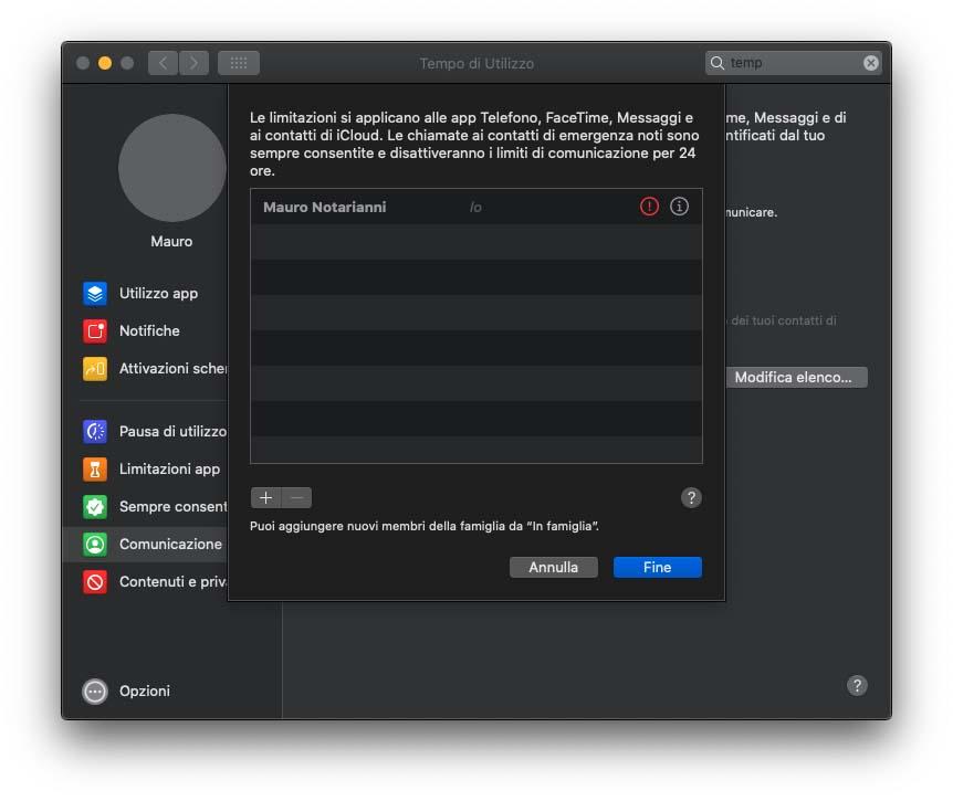 """Nella beta 1 di macOS 10.15.4 ora c'è l'opzione """"Limitazioni comunicazione"""" in Tempo di Utilizzo"""