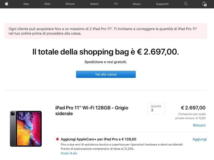 Anche in Italia Apple limita a massimo due modelli gli acquisti dello stesso iPhone