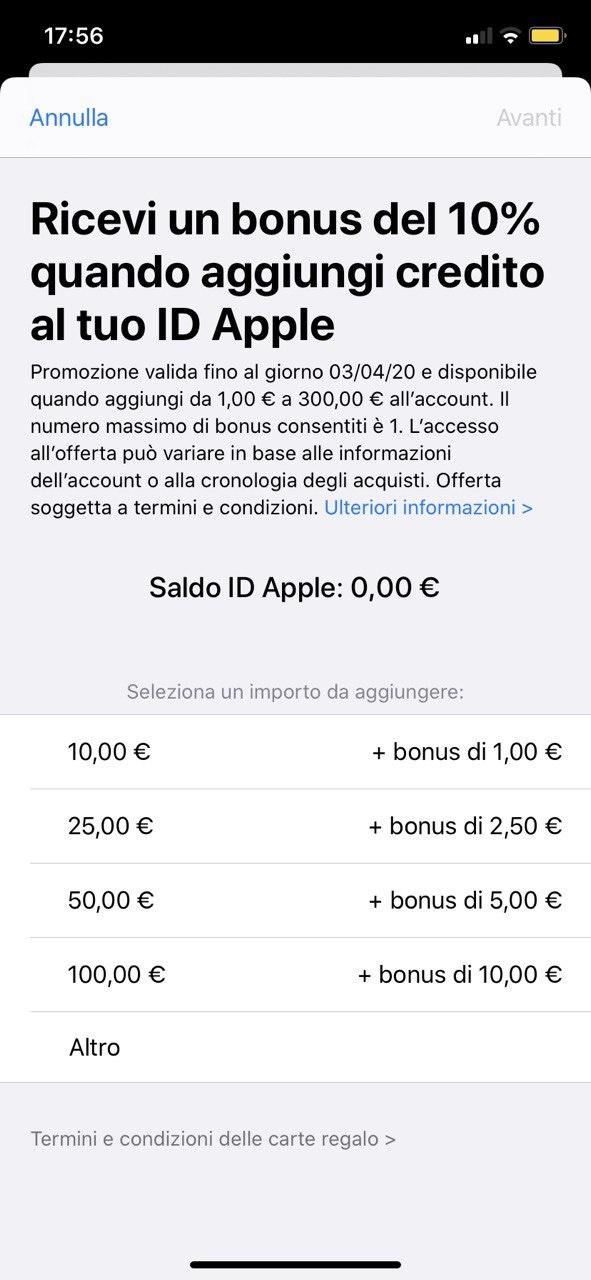 Apple regala un bonus del 10% aggiungendo credito all'account ID Apple