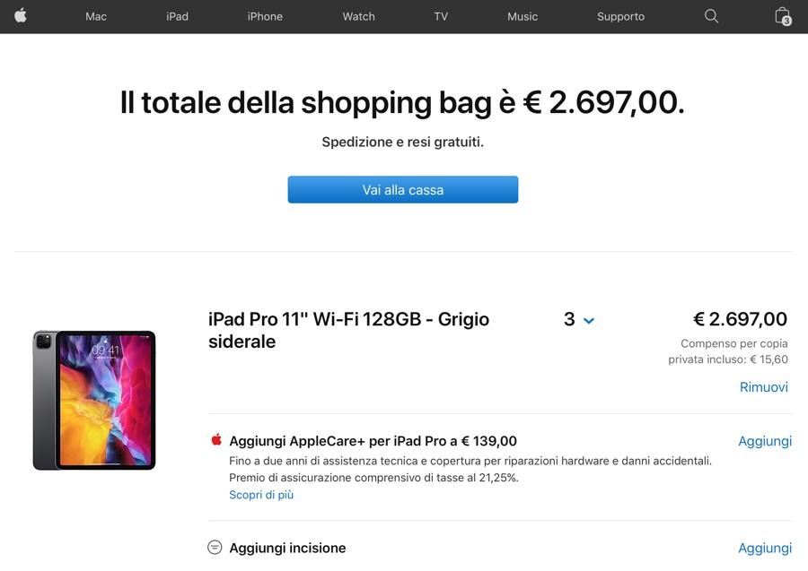 Apple rimuove i limiti di acquisto su Apple Store online