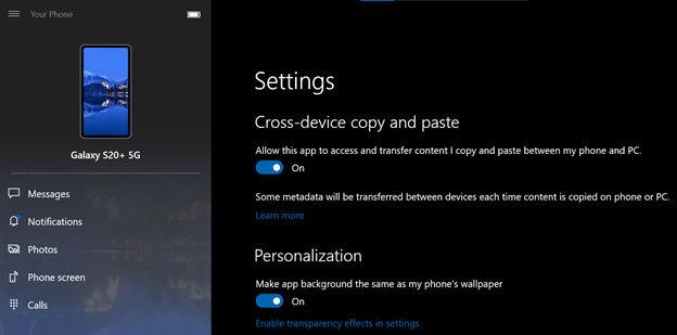 L'app Your Phone di Windows 10 consentirà di copiare e incollare sui dispositivi Samsung