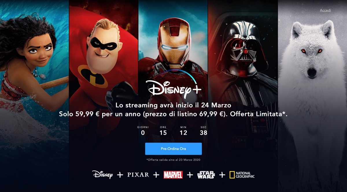 Disney+ arriva domani in Italia con qualità video limitata per coronavirus