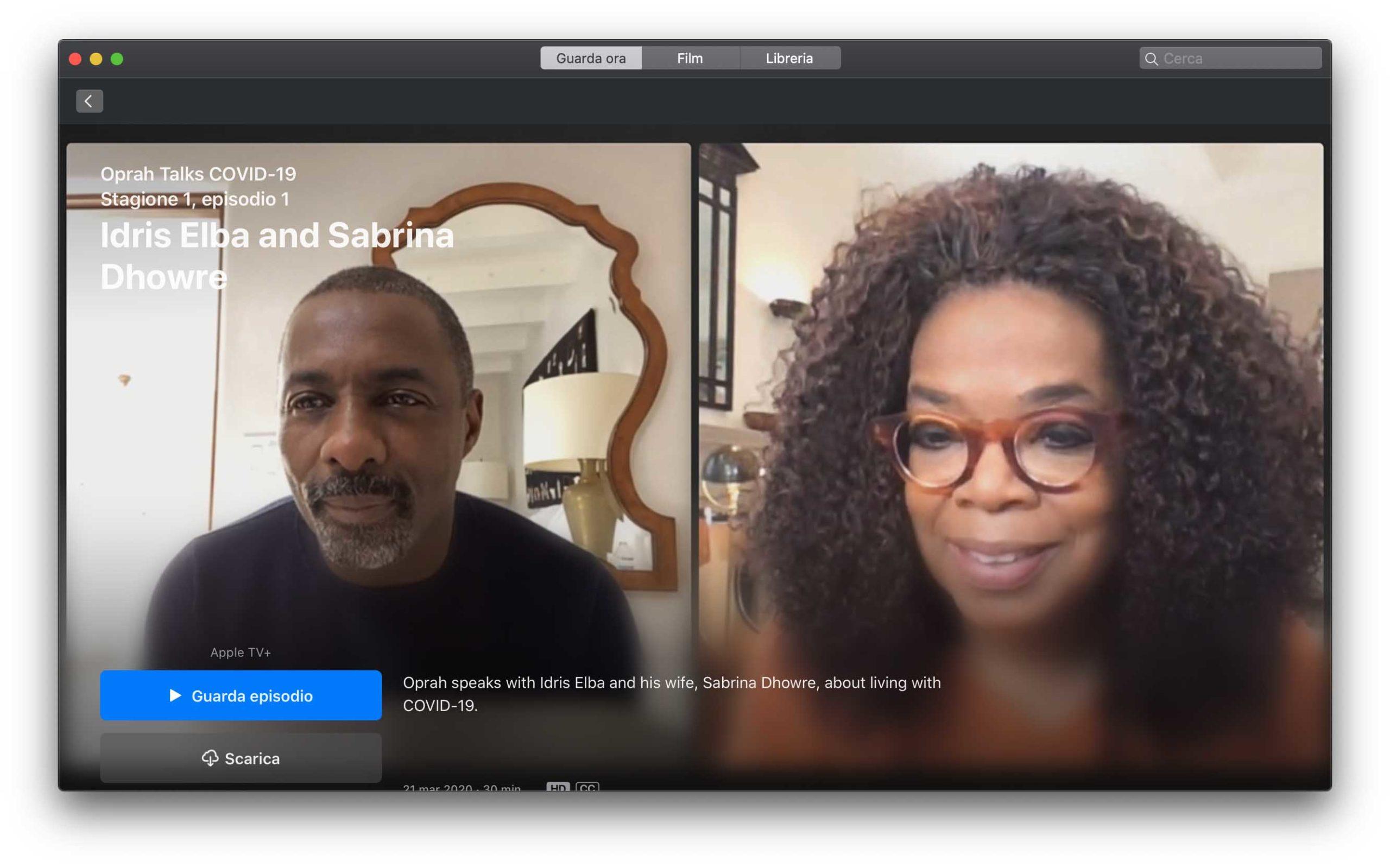 Su AppleTV+ una programma di Oprah Winfrey che parla di COVID-19