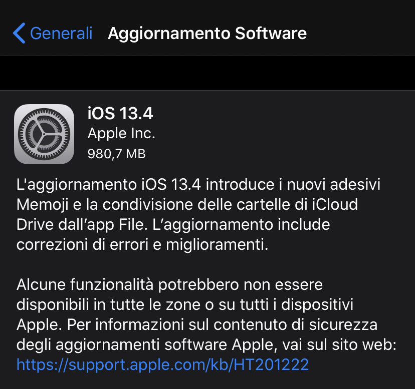 Apple ha rilasciato l'aggiornamento a iOS 13.4 e iPadOS 13.4