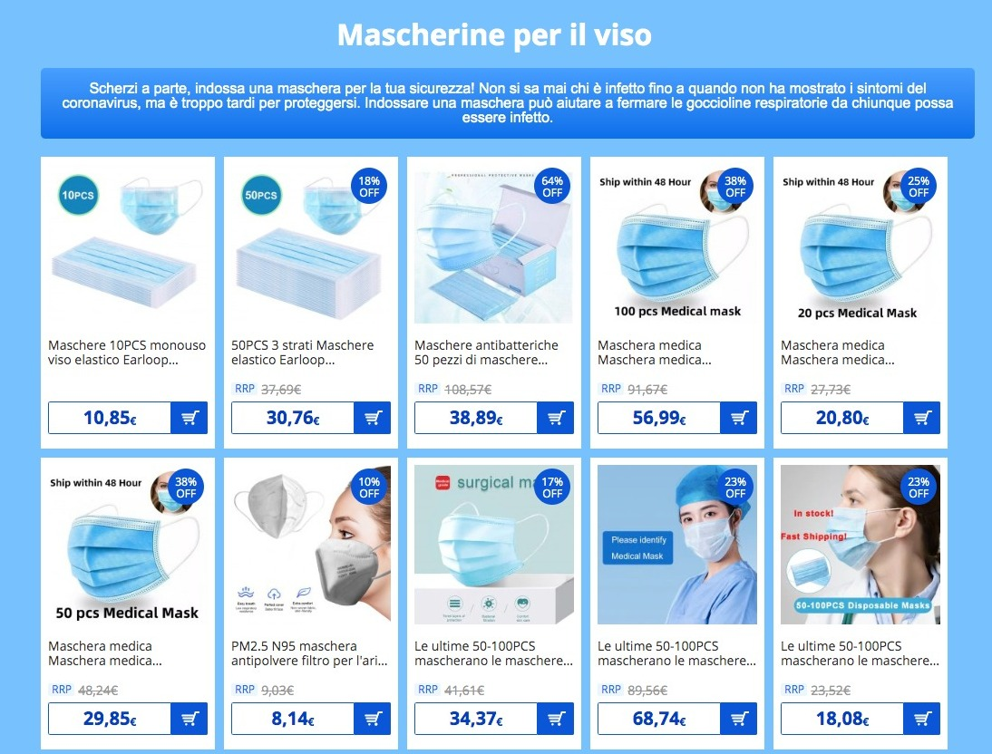 Coronavirus: ecco la pagina Gearbest dedicata, con dispositivi e prodotti utili