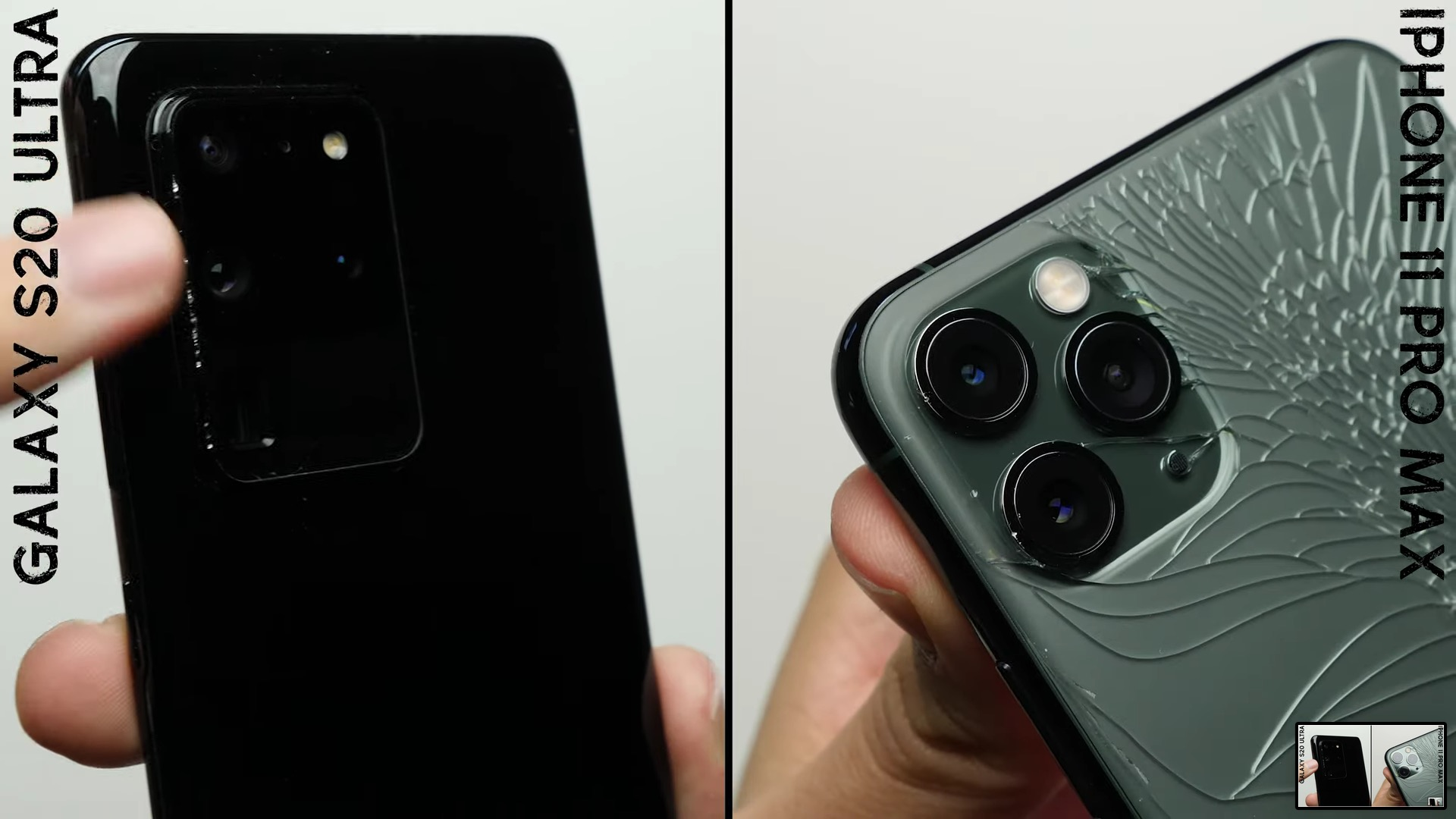 iPhone 11 Pro Max contro Galaxy S20 nel drop test