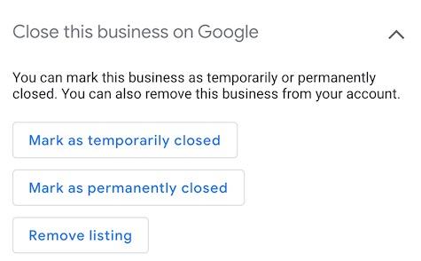 Google consente di contrassegnare le attività come temporaneamente chiuse