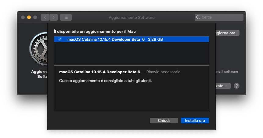 Quinta beta di macOS 10.15.4 agli sviluppatori