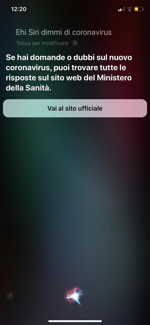 Apple indirizza le domande su coronavirus di Siri alle autorità locali