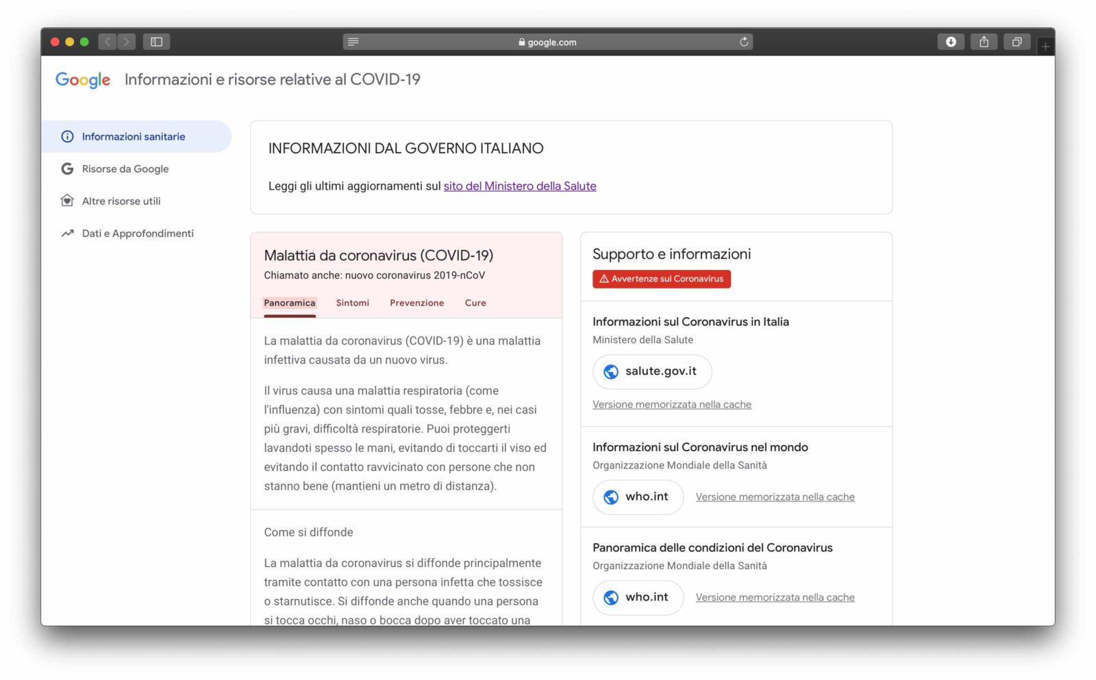 Google ha attivato il sito dedicato al coronavirus