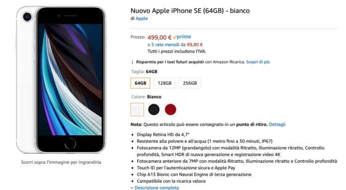 iPhone SE 2020 in vendita anche su Amazon: per alcune versioni spedizione rapida