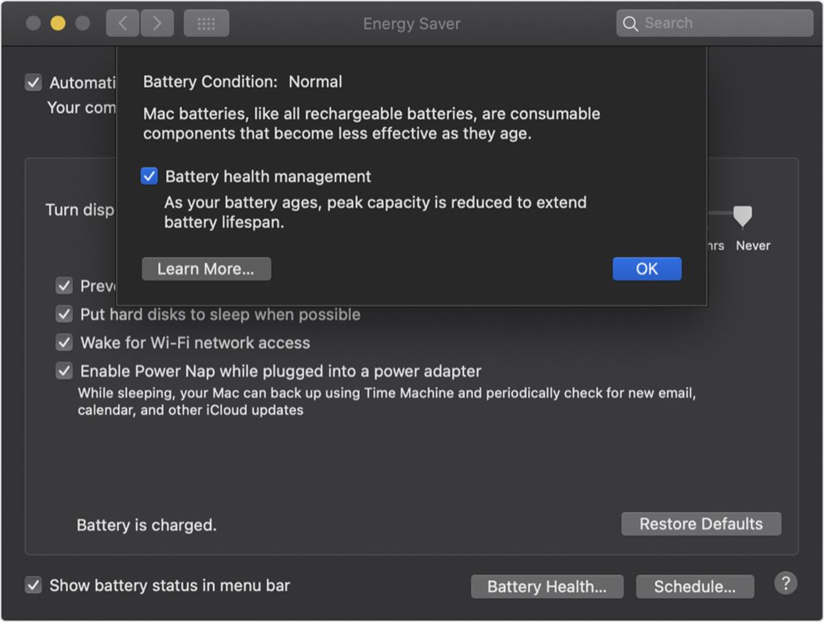 In macOS 10.15.5 nuova funzione per monitorare la salute della batteria con i portatili