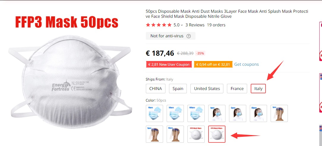 Mascherine FFP3, chirurgiche e saturimetro in offerta su Aliexpress e eBay