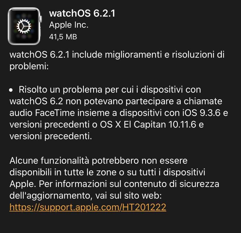 Apple ha rilasciato watchOS 6.2.1: risolto un bug con l'audio FaceTime