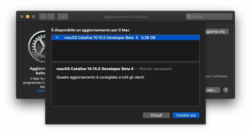 Quinta beta di macOS 10.15.5 agli sviluppatori