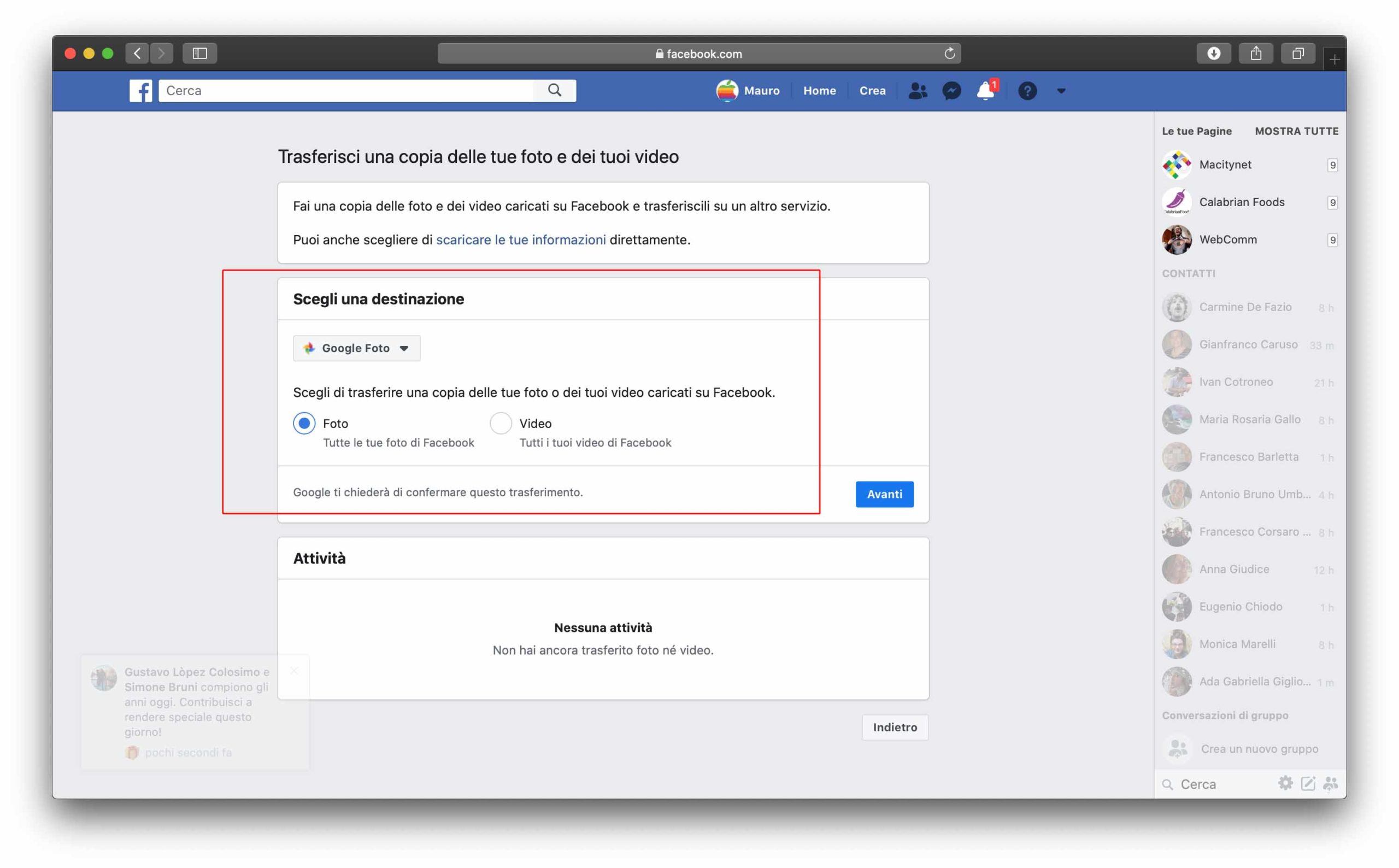 Come trasferire le foto da Facebook a Google Foto