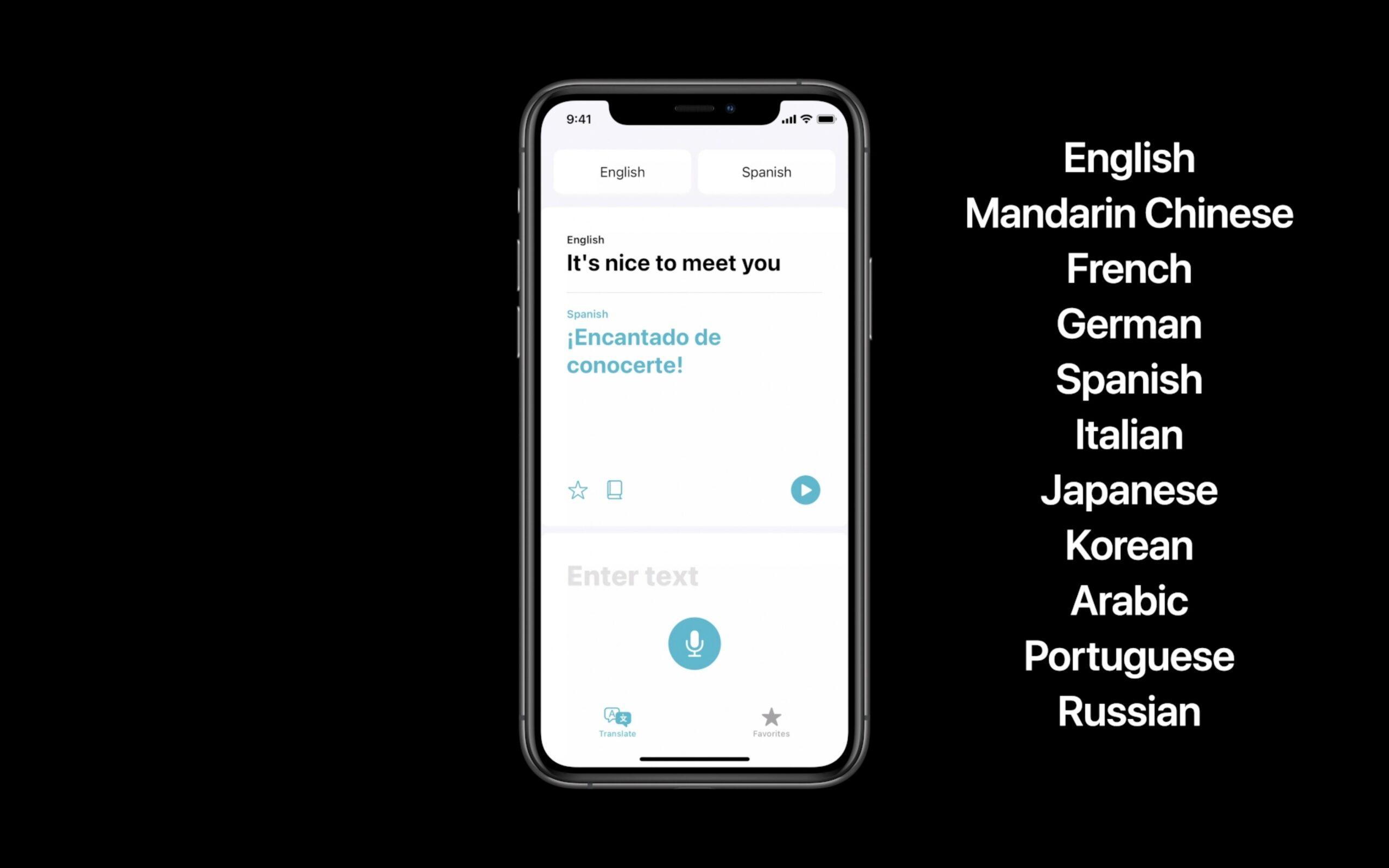 L'applicazione Traduttore in azione in iOS 14 (schermata dal Keynote)