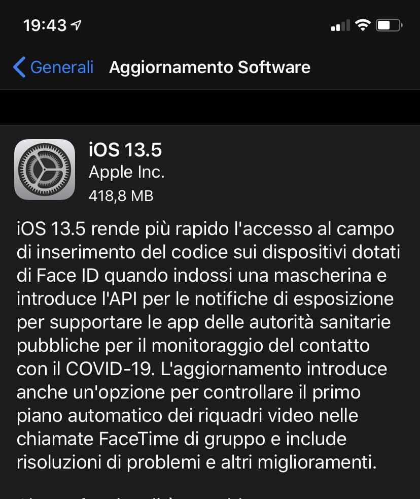 Disponibile aggiornamento a iOS e iPadOS 13.5: pronto il sistema di tracciamento dei contatti COVID-19