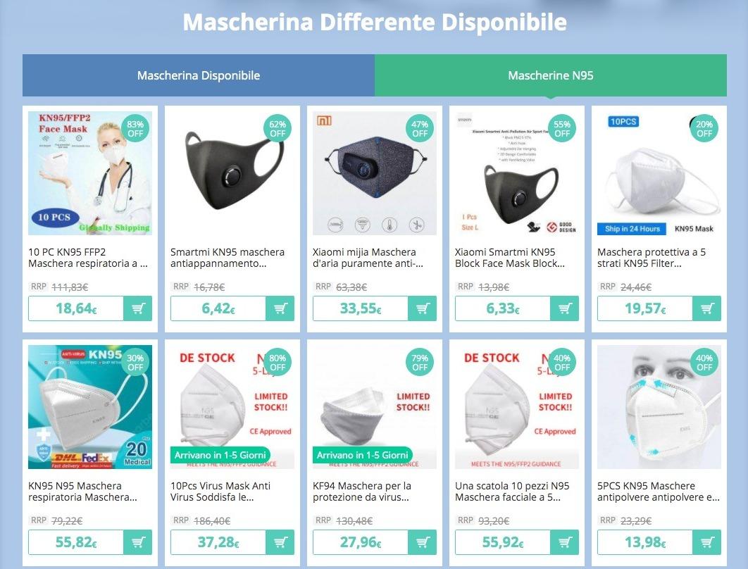 Mascherine chirurgiche, FFP2, termometri ed altri prodotti per il ritorno al lavoro