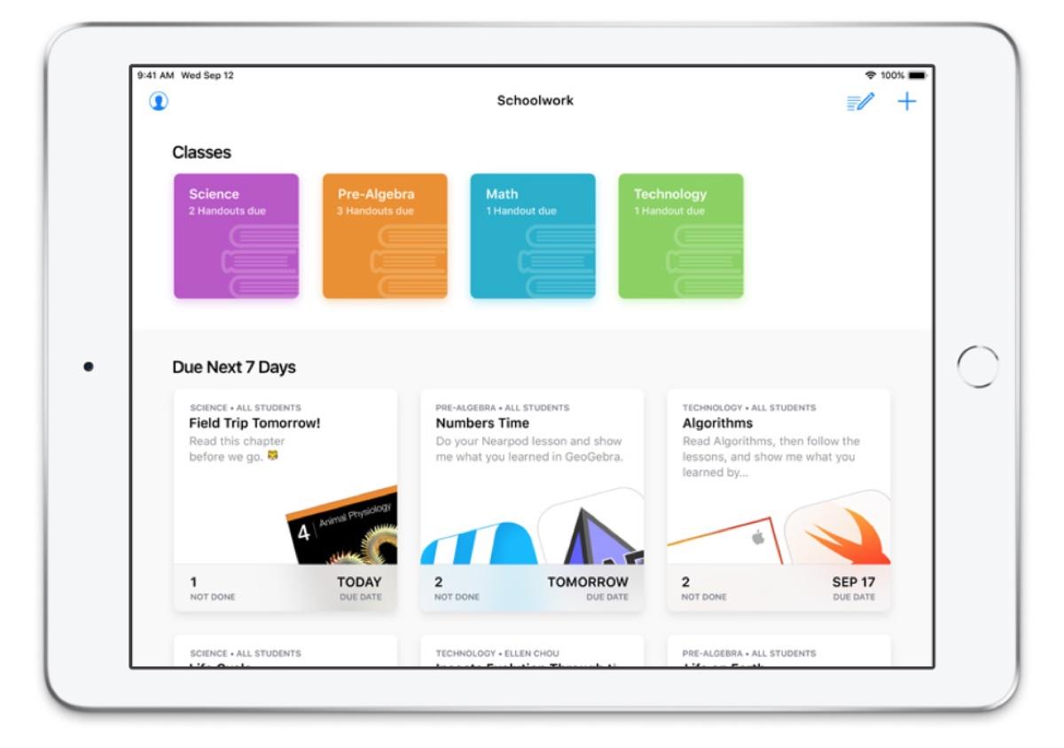 Apple Schoolwork 2.0 disponibile con strumenti per la scuola a distanza