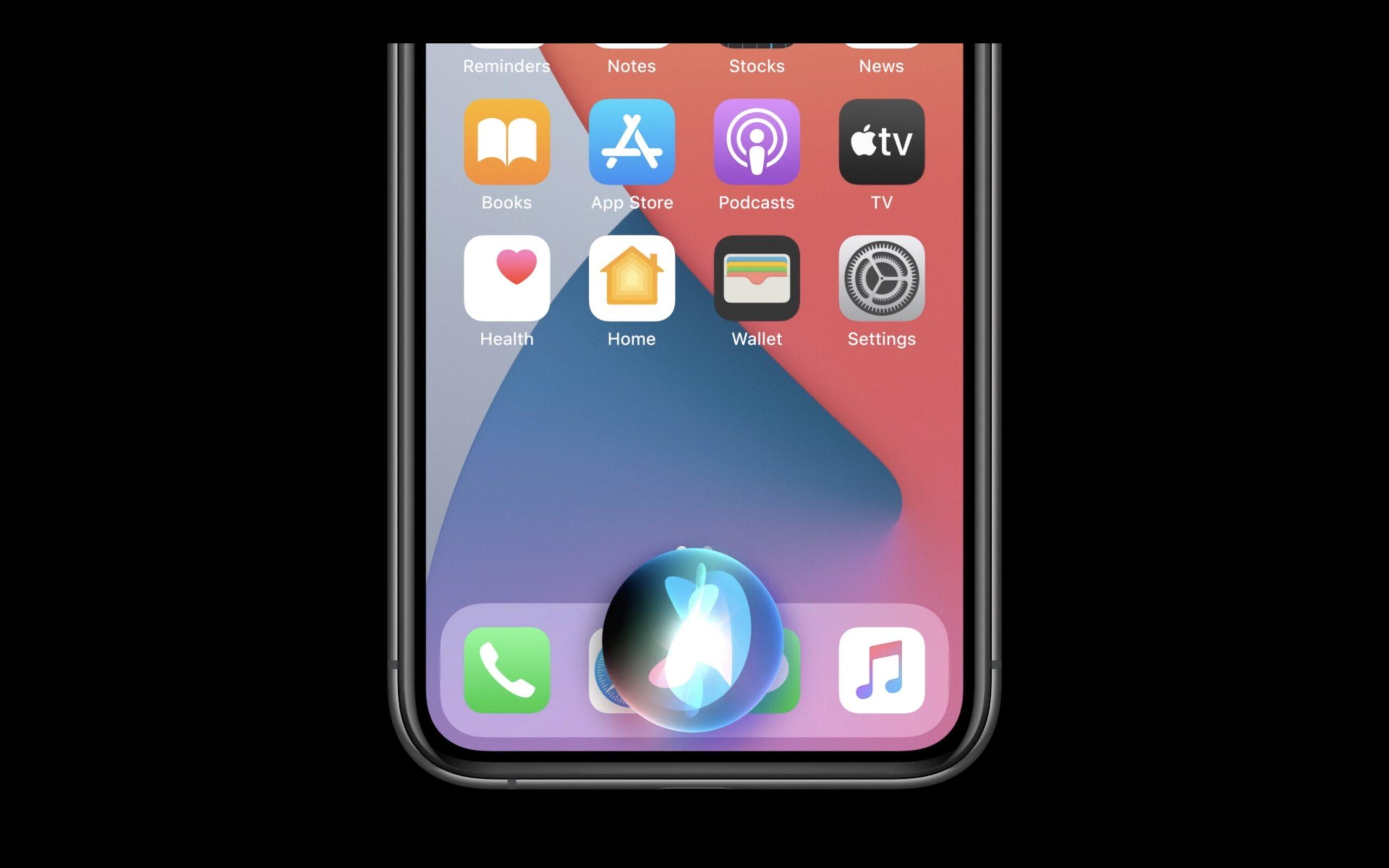 """Quando si richiama Siri, l'assistente virtuale in iOS 14 """"galleggia"""" sullo schermo"""