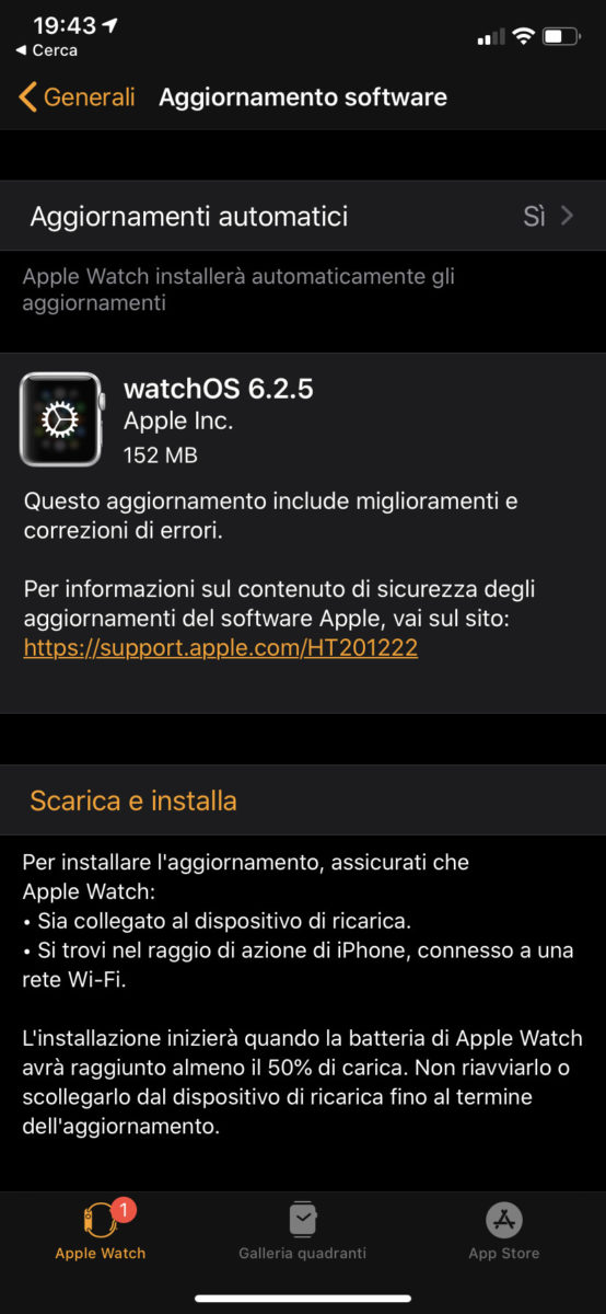Disponibile la versione definitiva di watchOS 6.2.5