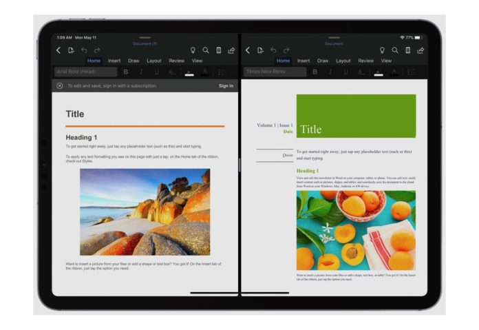 Word e PowerPoint per iPad ora consentono di aprire due documenti affiancati