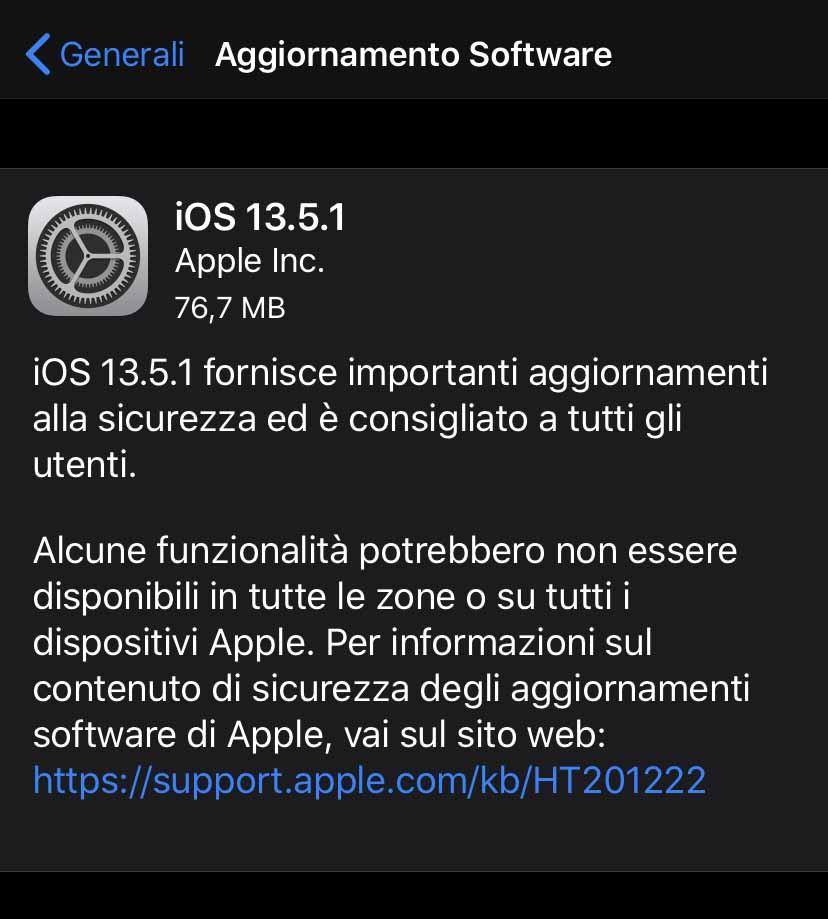 Apple ha rilasciato OS 13.5.1 e iPadOS 13.5.1