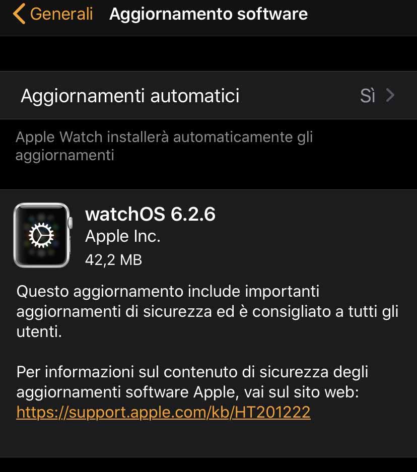 Disponibile la versione definitiva di watchOS 6.2.6