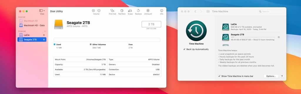 iOS 14 supporta i volumi cifrati e Time Machine su macOS Big Sur può fare il backup su dischi APFS