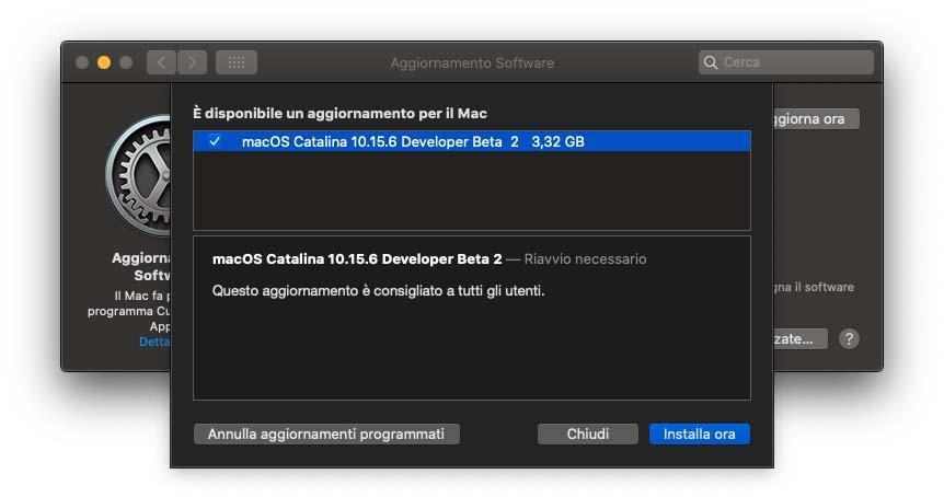 Seconda beta di macOS 10.15.6 agli sviluppatori