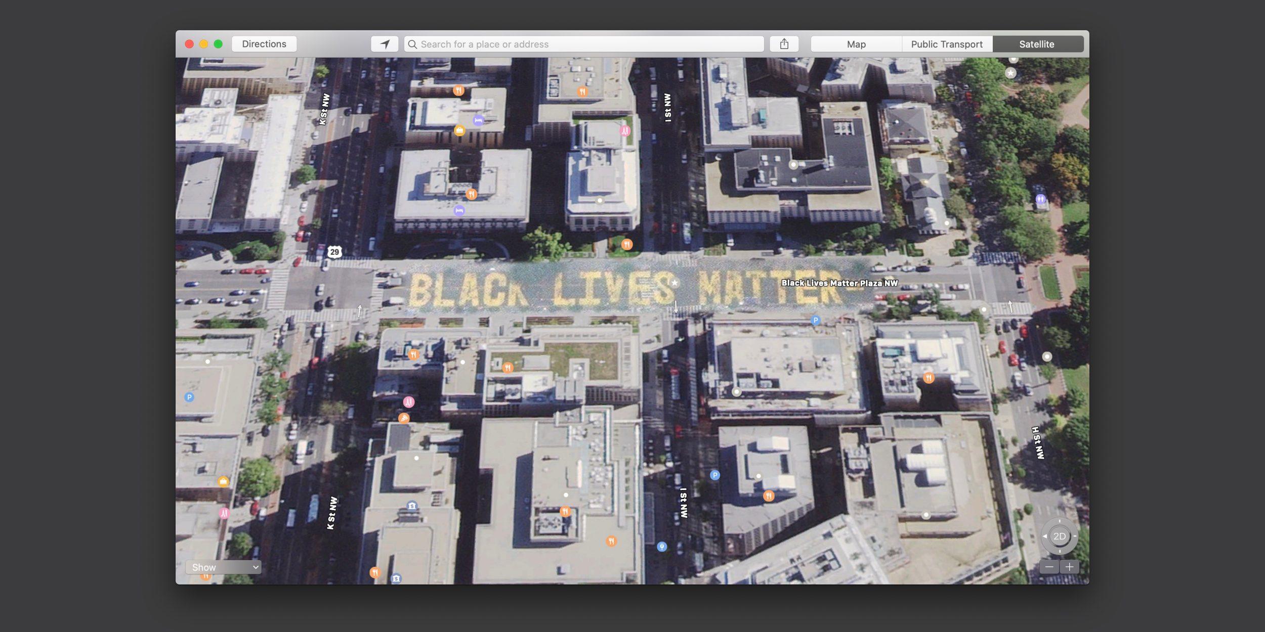 """La grande scritta """"Black Lives Matter"""" a Washington visibile dalle Mappe di Apple"""