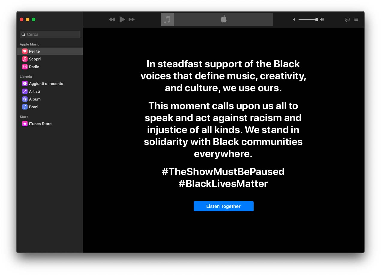 Apple partecipa al Blackout Tuesday