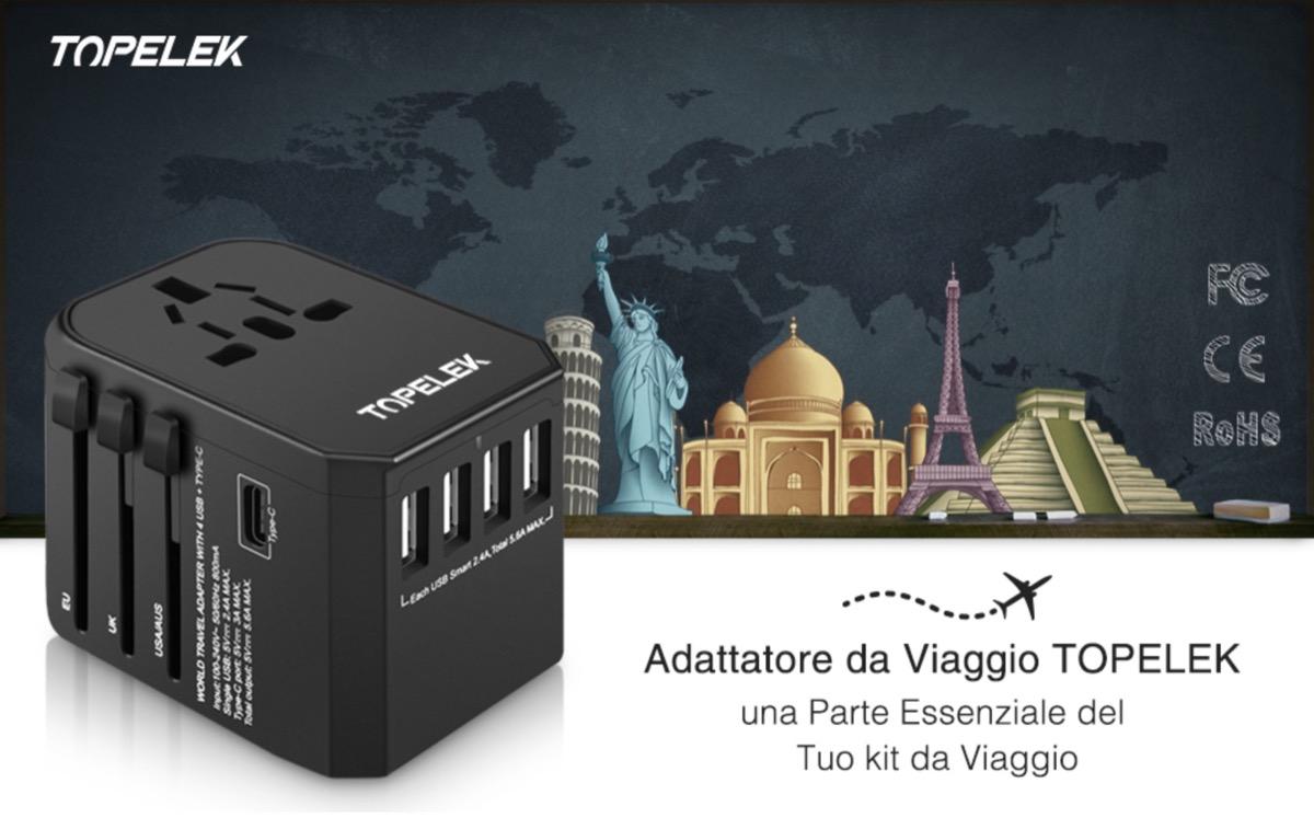 Caricatore da viaggio universale Topelek, con 4 USB e USB-C a soli 13,99 euro