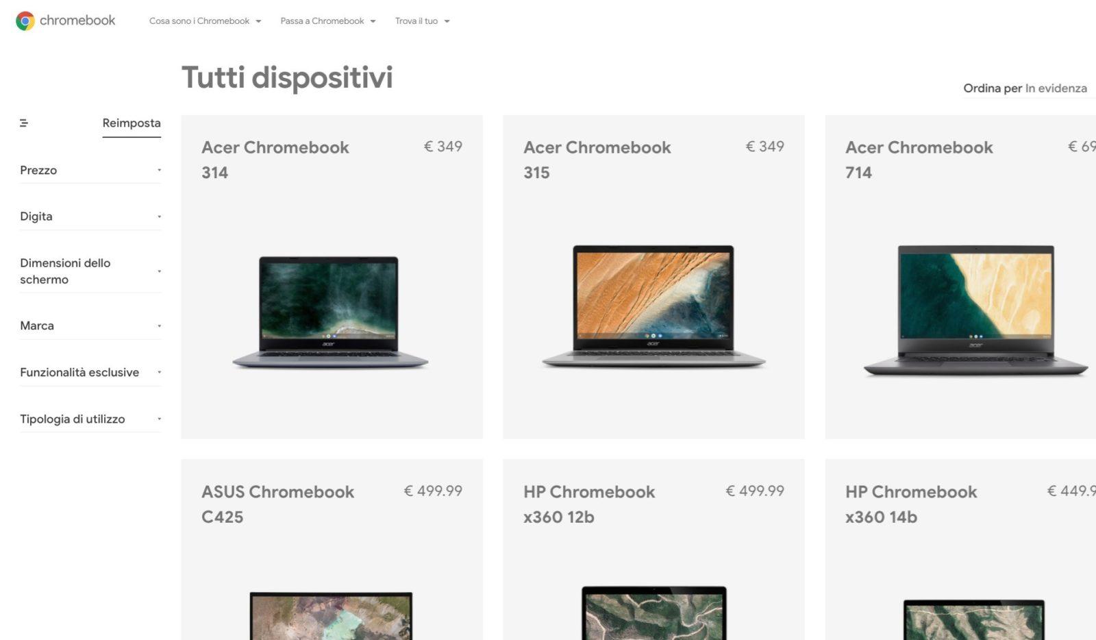I Chromebook di Google tornano ufficialmente in Italia: disponibile il sito in italiano