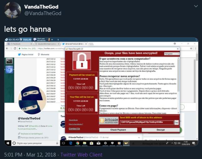 : Immagine di attività di hacking dal profilo Twtter di VandaTheGod