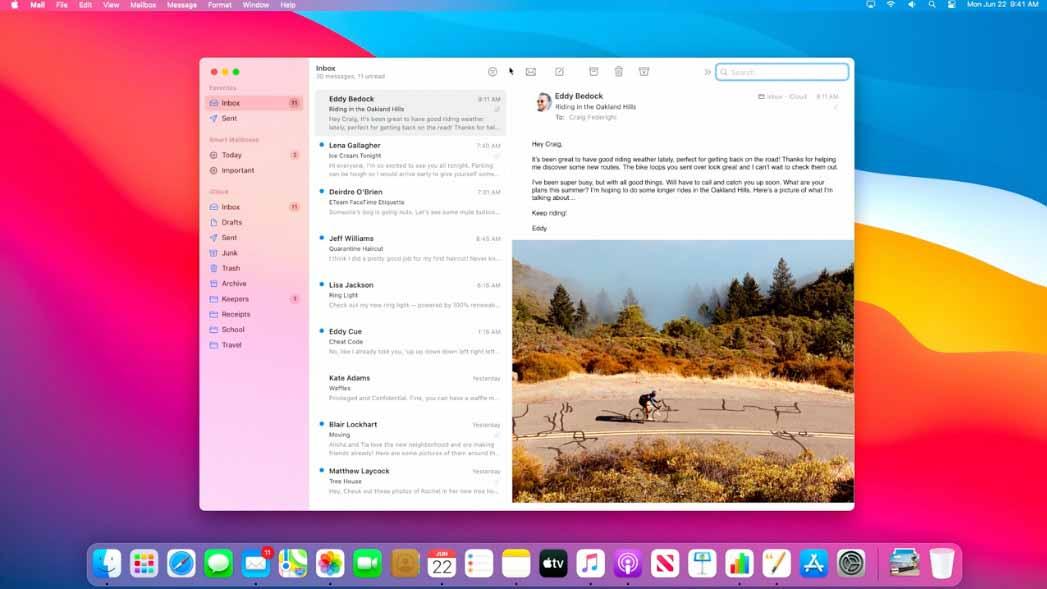 macOS 11 Big Sur schermate