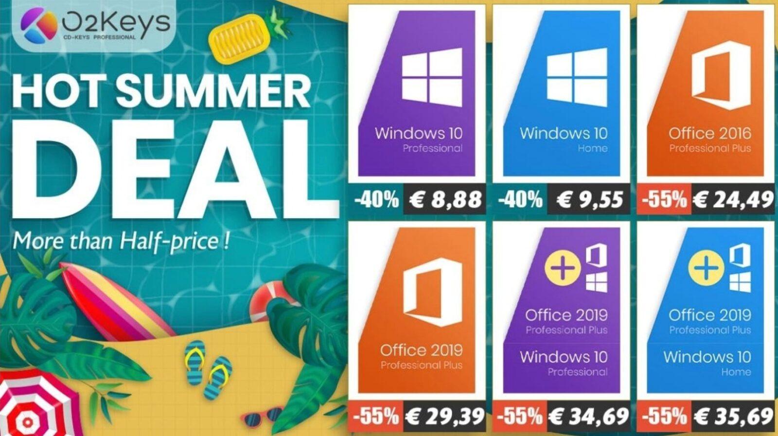 Office 2019 a soli 29 €, Windows 10 a soli 8 €: le offerte estive su licenze Microsoft di O2Keys