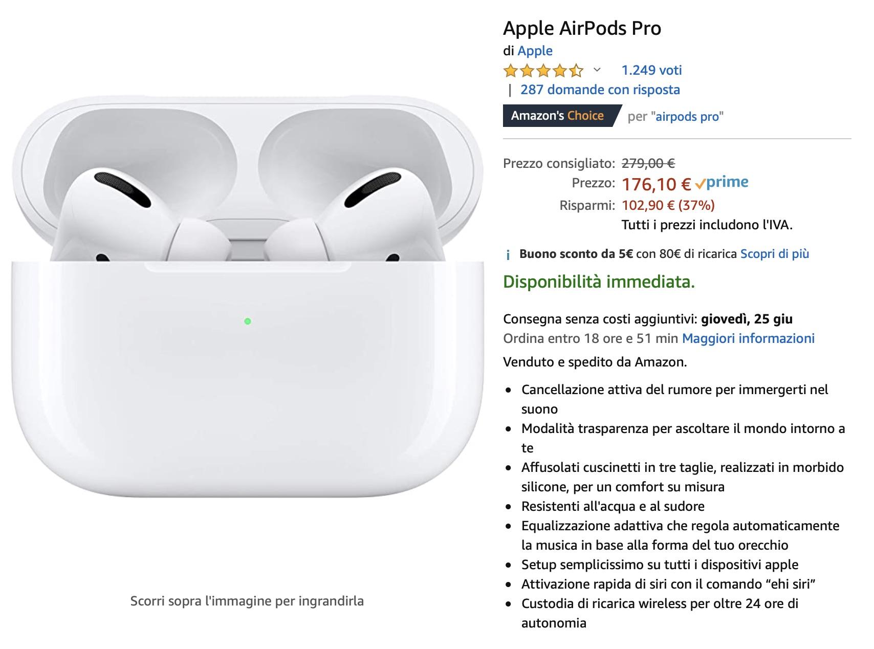 Rubate gli Airpods Pro ad Amazon: solo 176,10 €